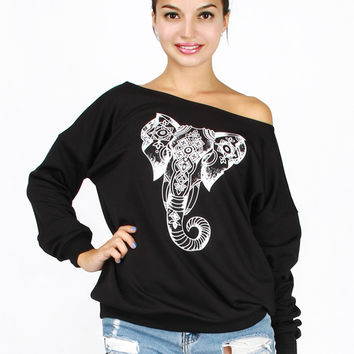 Black Off Shoulder Elephant Print Sweatshirt