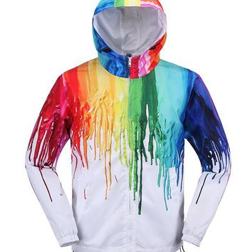 3D Color Paint Vogue teenager quick-dry Windbreaker Hip Hop Street wear Hooded jacket novel men's long trench coats