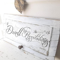 Antique Shabby Primitive Rustic Sign Wall Decor. Inspirational Quote. Emily Dickinson. Rustic Farmhouse. Shabby Victorian Cottage.