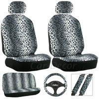 Leopard Gray Seat Cover 11 Pc Set
