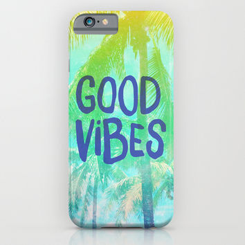 "Turquoise Yellow Green Tropical Palm Trees ""Good Vibes"" iPhone & iPod Case by Hyakume"