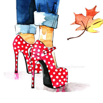 Fashion art print, Shoes fashion illustration, Red polka dots shoe art, Wall art, Girly wall art