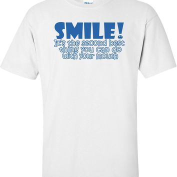 Smile Its The 2nd Best Thing You Can Do with Your Mouth Shirt Printed Men T Shirt Clothes Top Tee T-Shirt Short Sleeve Brand