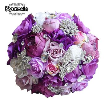 Kyunovia Silk Wedding Flower Artificial Rose Bouquet Bridesmaid Bouquets Roses 3PCs SET Purple Accent Brooch Bridal Bouquet FE83