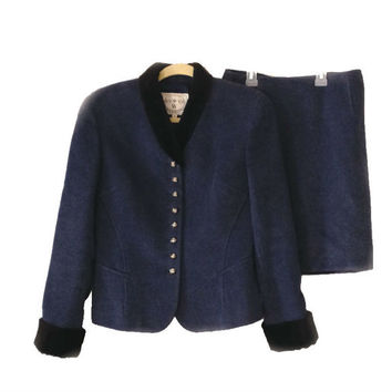 Wathne Vintage Suit Blue Wool and Silk Small or XS Ladies Skirt and Jacket