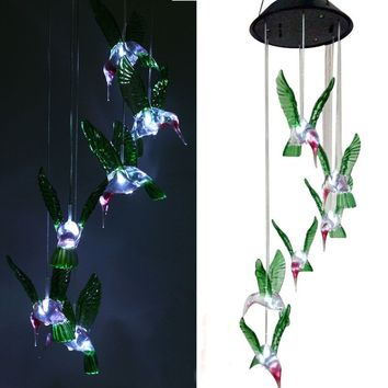 Solar Mobile Wind Chime Pathonor LED Changing Light Waterproof Six Hummingbird Wind Chimes For Home Party Night Outdoor Garden D
