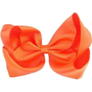 Grosgrain Boutique Hairbow, Neon Orange