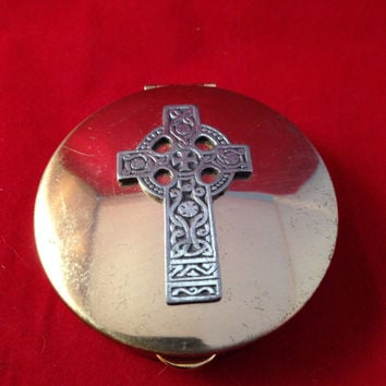 Celtic Cross Brass Pill Box, Vintage