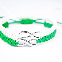 Infinity Friendship or Couples Bracelets Green and White