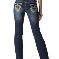 Wired Heart Women's Medium Wash with Embroidered Shield Flap Pocket Boot Cut Jeans