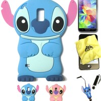 Bukit Cell ® Galaxy S5 Stitch Bundle - 5 Items: BLUE 3D Stitch Soft Silicone Case Cover for Samsung Galaxy S5 V i9600 + BUKIT CELL Trademark Lint Cleaning Cloth + Stitch Figure Anti Dust Plug Stylus Touch Pen + Screen Protector + METALLIC Stylus Touch Pen
