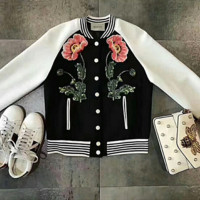 Gucci Women Embroidery Floral Buttons Coat