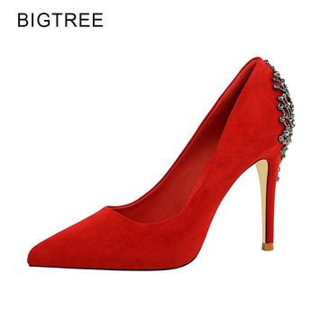 BigTree Women Shoes High Heels Red Sexy Party Shoes Pointed Toe Thin Heels Flock Metal Decoration 2018 Spring New Size 34-39