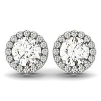Diamond Halo Moissanite Stud Earrings