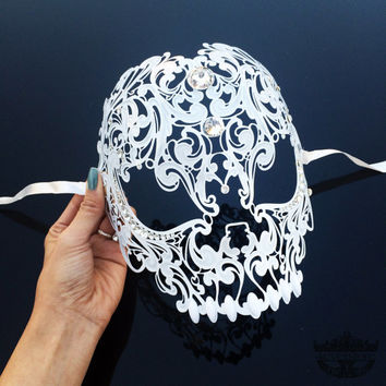 Masquerade Mask, Skull Masquerade Mask, Skull Mask, Sugar Skull, Masquerade Ball Masks, Mardi Gras Mask, Masquerade Mask  [Clear Gems]