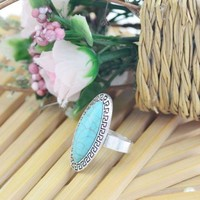 Tribal Silver Plated Overstated Diamond Shape Turquoise Ring