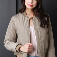 Puffy Zip Up Bomber Jacket