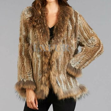Real Lady Knitted Rabbit Fur Coat With Raccoon Fur Trim Jacket Cuff Fur Coat Coats Hot Selling Spring Fur Outwear LX00291