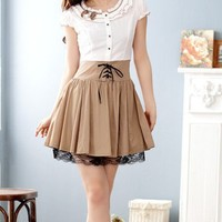 Women Chiffon And Cotton Round Neck Short Sleeve Elastic Waist Fitting Coffee Dress M/L@MF3119co