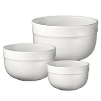 Emile Henry 116529/3 Made In France Deep Mixing Bowl (Set of 3), Flour White