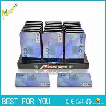 2pcs/lot Credit Card Pipe portable metal card smoking pipe gift,shisha hookah herb rolling machine smoking pipe