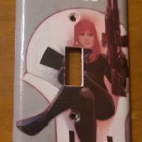 Comic book light switch cover Black Widow