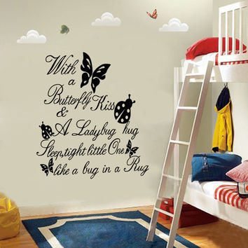 Letters With A Butterfly Kiss Quote Girl Room Decor Art Removable Wall Sticker SM6