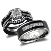 His and Hers Wedding Ring Sets Couples Matching Rings - Women's Steel Wedding Rings & Men's Titanium Wedding Bands