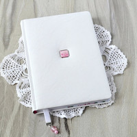 Artificial leather journal notebook White notebook calendar Leather diary white cover Writing journal Girls handbound personal diary book