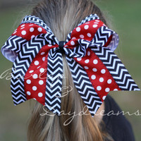 Georgia Bulldogs inspired Red and White Polka dot with Black & White Chevron Cheer Bow