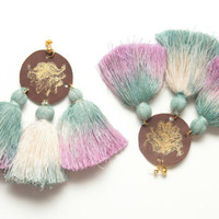 FESTIVE 4/ Dyed cotton tassel & leather earrings - Ready to Ship -OOAK