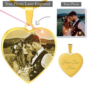 Give Love to The Memorial Moment - Photo Etched Heart Luxury Necklace Done By Yourself