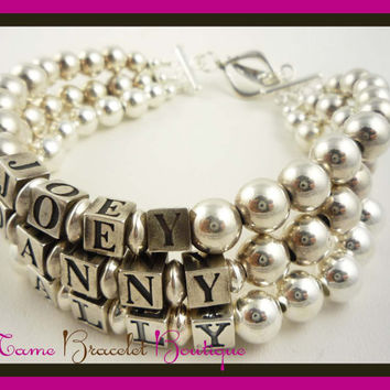 Mothers Day Bracelet  Sterling SIlver Mother's Mother Child Name Grandma Personalized ID Mom