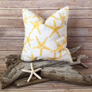 Yellow Starfish Pillow Cover - Beach Pillow, Ocean Decor, Starfish Pillow