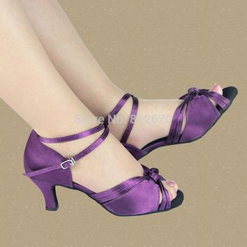 Purple Samba latin dance shoes women & girls Satin dance legend ladies shoes ballroom shoes with soft outsole