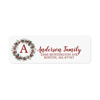 Holly Wreath Christmas Monogram Address Label