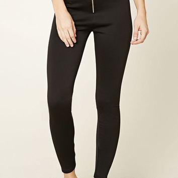 Zip-Front High-Waisted Leggings