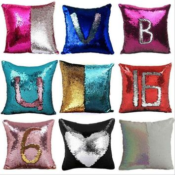40*40cm DIY Mermaid Sequin Pillow cover Magical deccorative Throw Pillowcase Reversible sequin Pillow cover for drop shipping