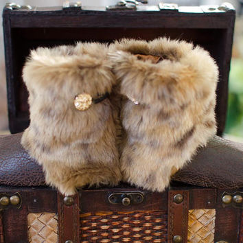 Baby Boots, Toddler Boots, Sophia - Faux Leopard Fur and Faux Leather Baby Boots
