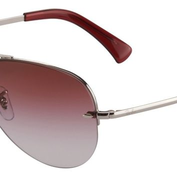 Ray-Ban Aviator Sunglasses RB3449 91280T 59 Silver | Dark Red Gradient Mirror