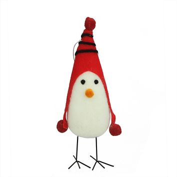 """8"""" Red and White Felt Bird with Winter Hat Decorative Christmas Ornament"""