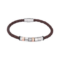 Brown Woven Leather Bracelet With Metalic Bead Design
