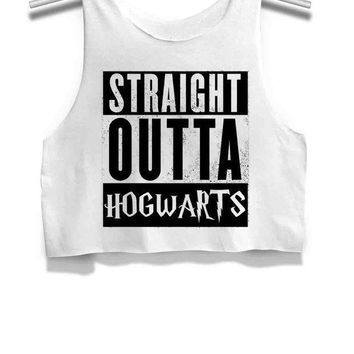 Straight Outta Hogwarts Womens Crop Tank Top