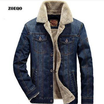 ZOEQO New men jacket and coats Mens Rodeo Lined Denim Jackets Fashion mens jeans jacket Thicken warm winter outwear male  M~4XL