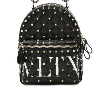 Valentino Mini VLTN Spike It Backpack in Black & Optic White | FWRD