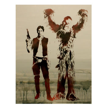 HAN SOLO and CHEWBACCA Original Painting Star Wars Art 24 x 30 Disney Hero Pop Art Street Art Graffiti Inspired Artwork