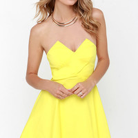Flare Thee Well Yellow Strapless Skater Dress