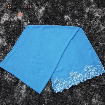 Rose Moda Blue Chiffon Shawl for Wedding Events and Special Occasion Dress Lace Appliqued Wrap