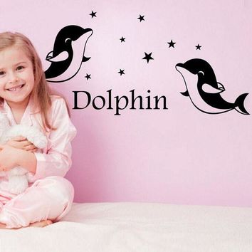 DCCKU7Q Dolphin Animal Cartoon Vinyl Wall stickers for kids rooms Home decor DIY Child  Art Decals 3D Design House Decoration