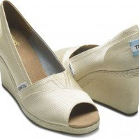 Ivory Grosgrain Women's Wedges